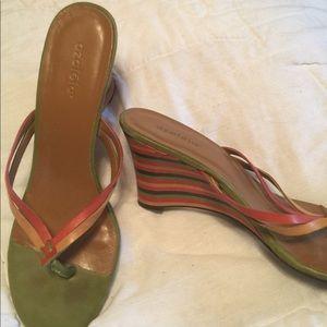 Azalea leather wedge sandals